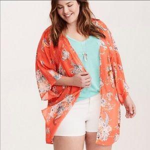 Bright Torrid Floral and Crochet Kimono